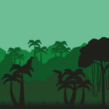 Jungle tropical landscape icon