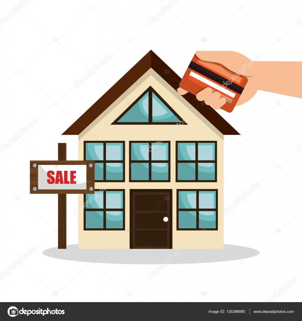 house real estate sell credit card business design — stock vector
