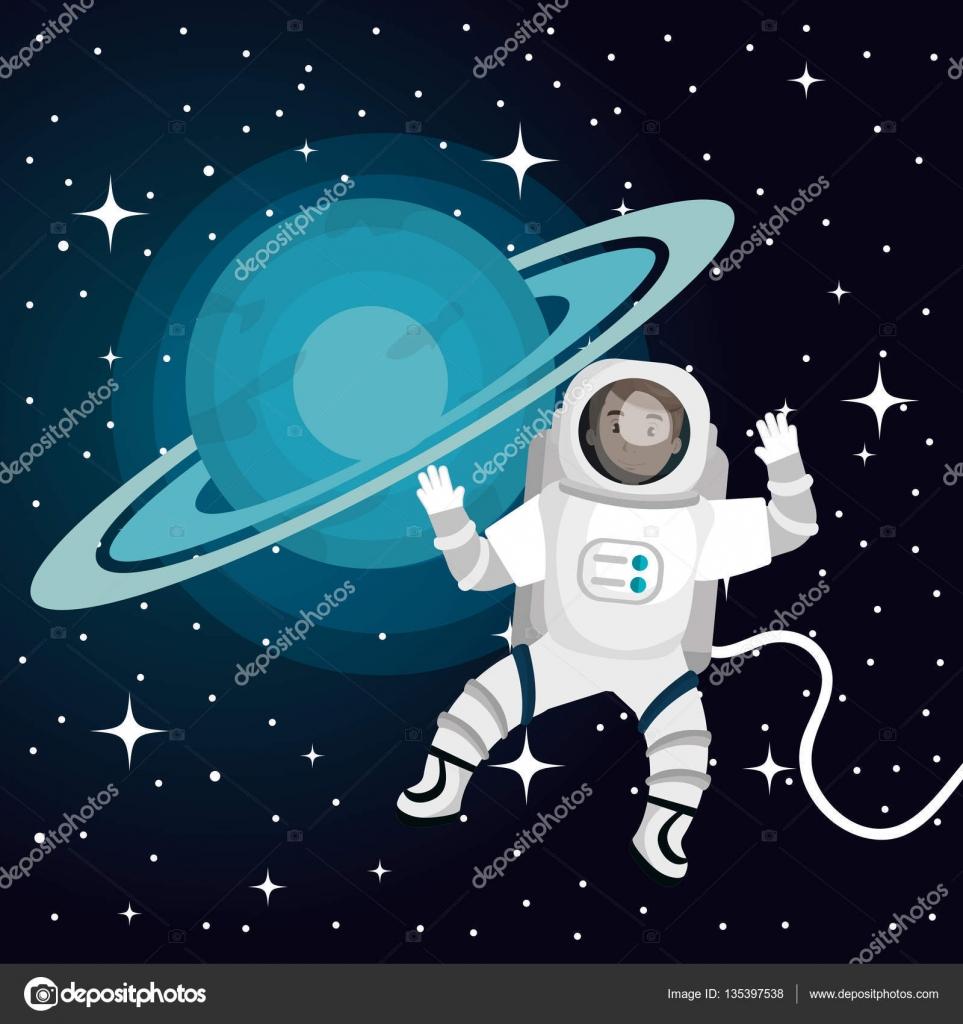 Espacio de dibujos animados de astronautas aislado - Dibujos infantiles del espacio ...