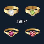 Nastavení ikony prsteny zlato drahokamy, samostatný