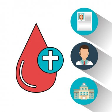 set blood drop services medical isolated