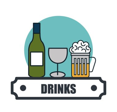 drinks menu restaurant isolated icon