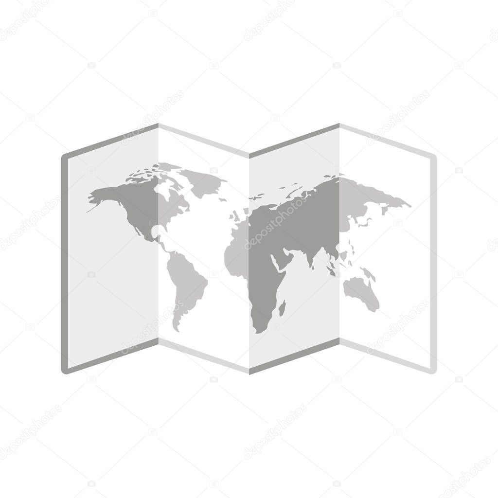world map paper geography icon