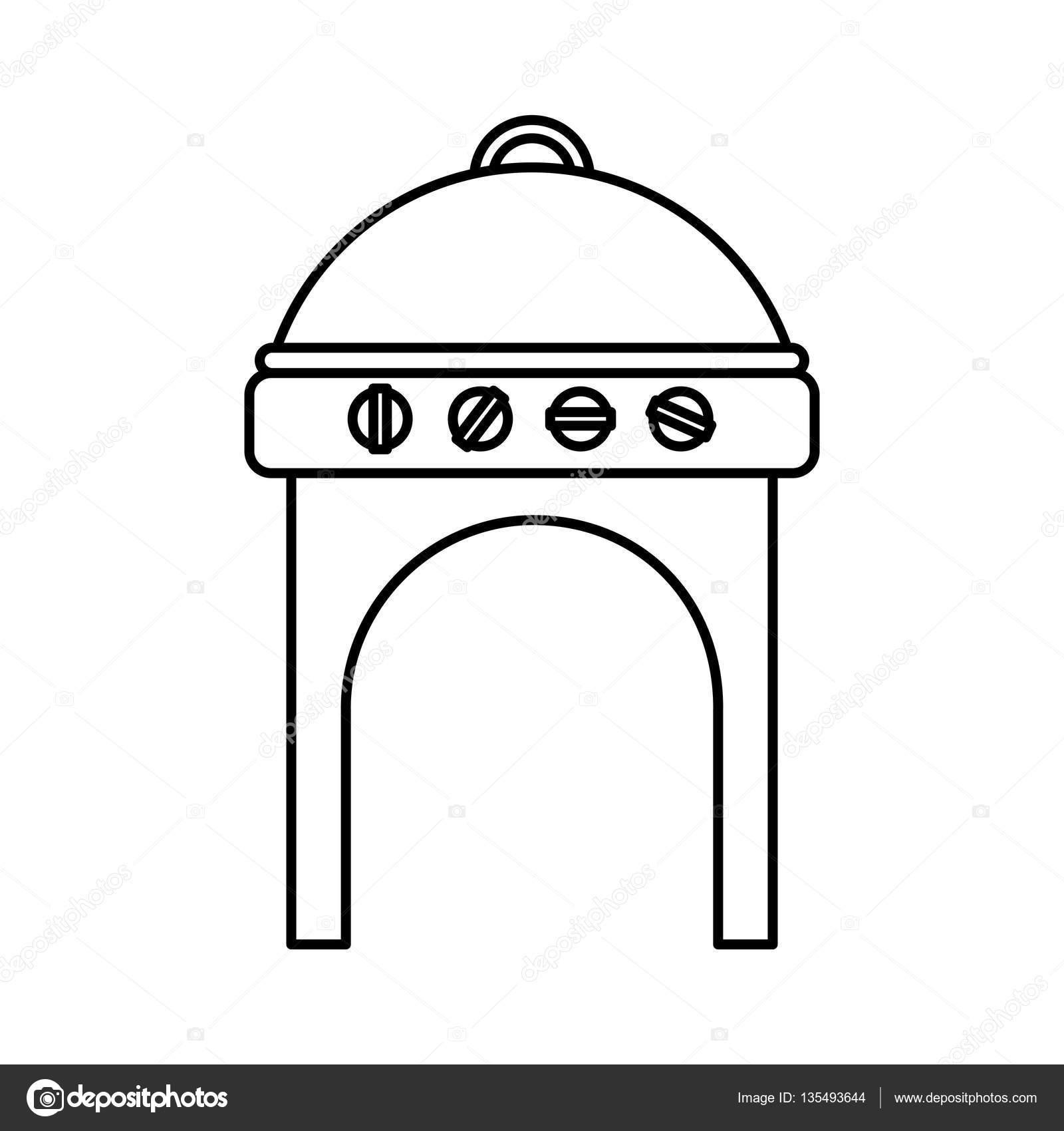 Backofen Grill Bbq Symbol Stockvektor C Yupiramos 135493644