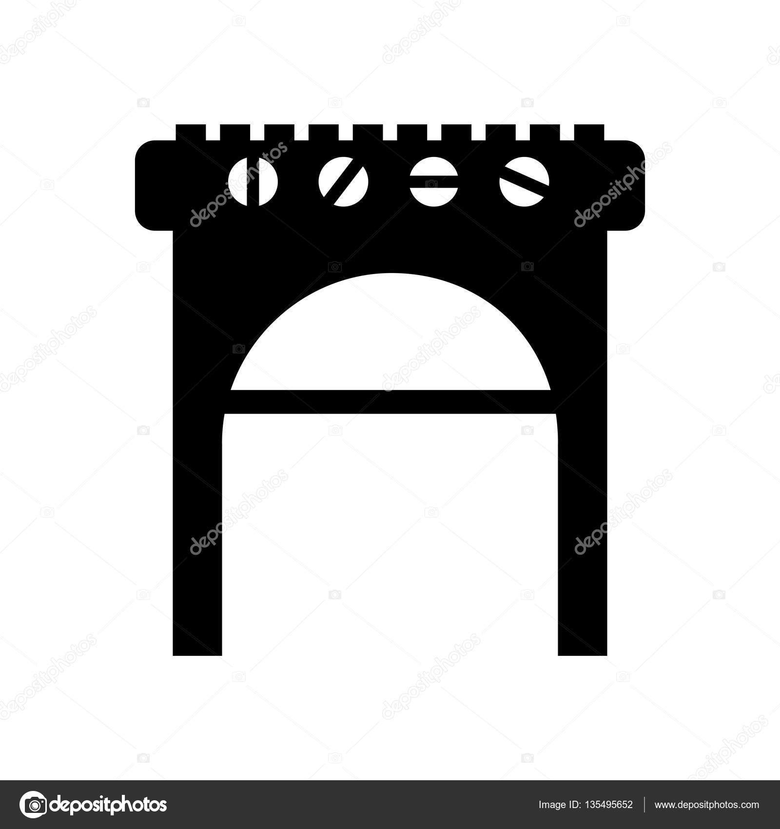 Backofen Grill Bbq Symbol Stockvektor C Yupiramos 135495652
