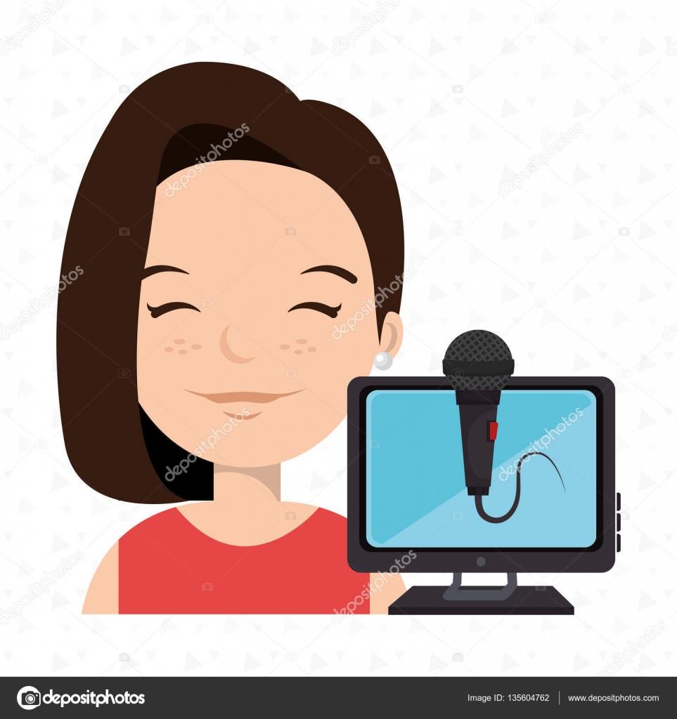 dibujos animados mujer hablar micrófono — Archivo Imágenes ...