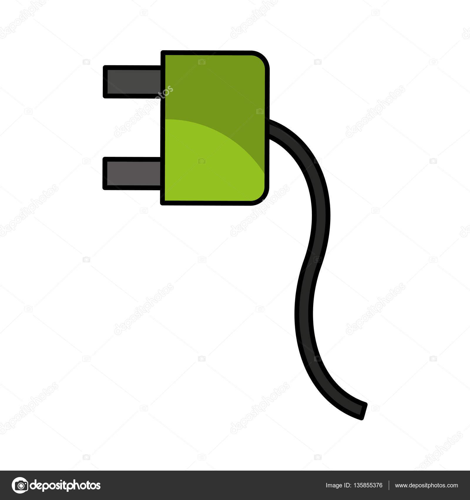Draht Kabel Energie Stecker Symbol — Stockvektor © yupiramos #135855376