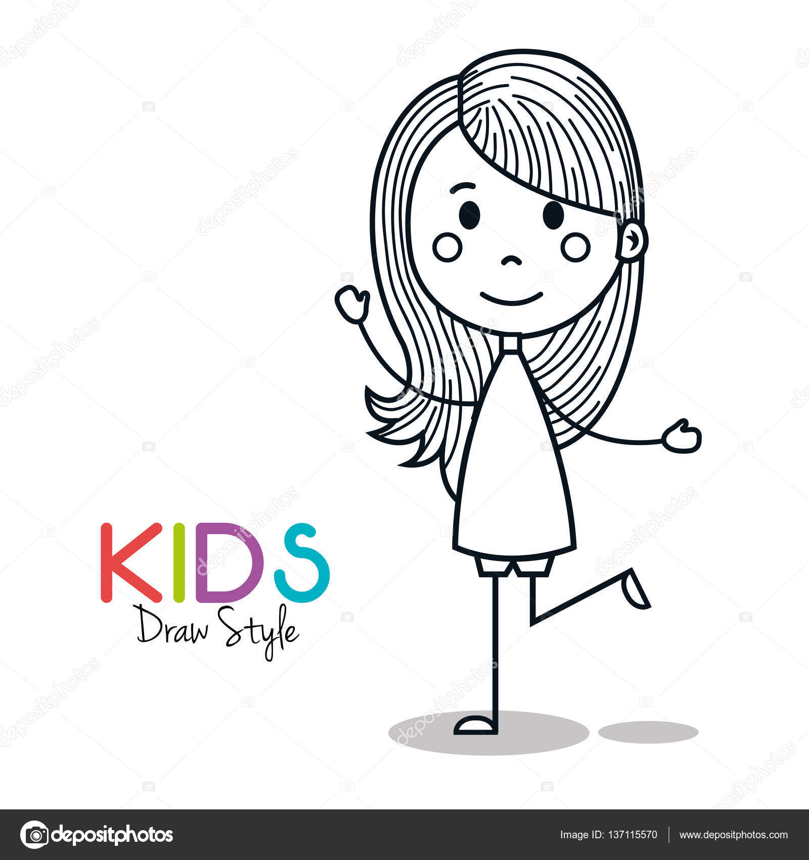 Cute Little Girl Drawing Stock Vector C Yupiramos 137115570