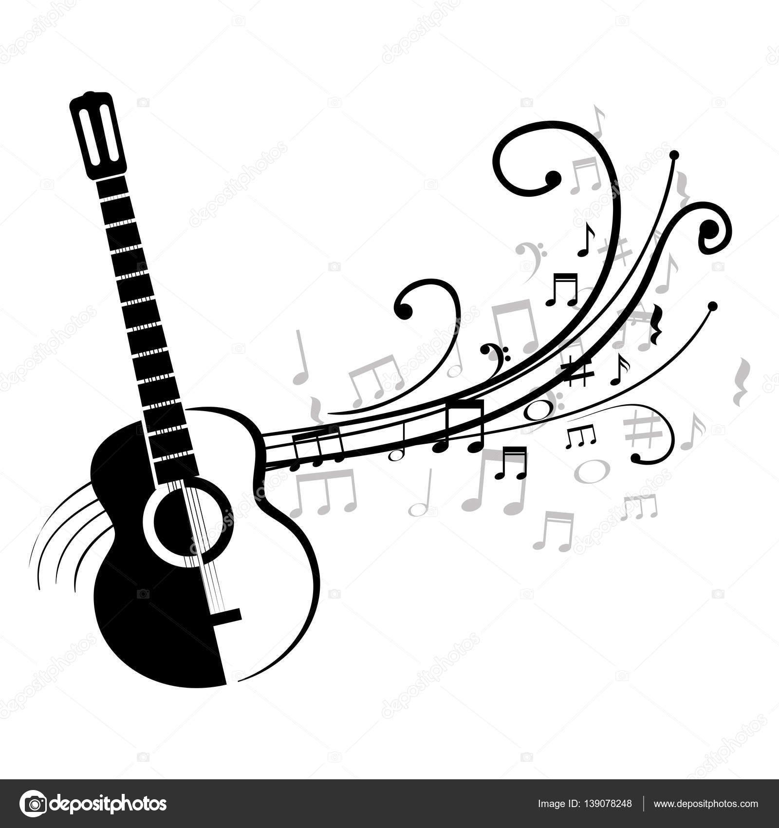 Guitarra Acústica Con Notas Musicales Archivo Imágenes Vectoriales