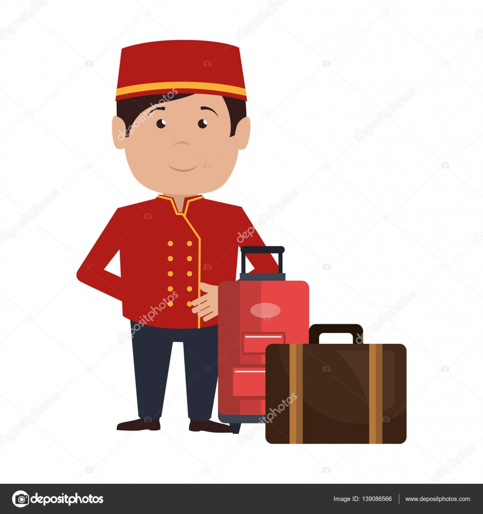 Bellboy character hotel service icon stock vector for Character hotel