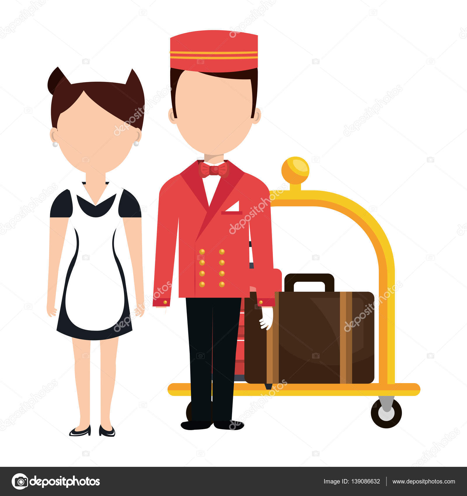 Chambre Et Service: Room Service And Bellboy Character Hotel