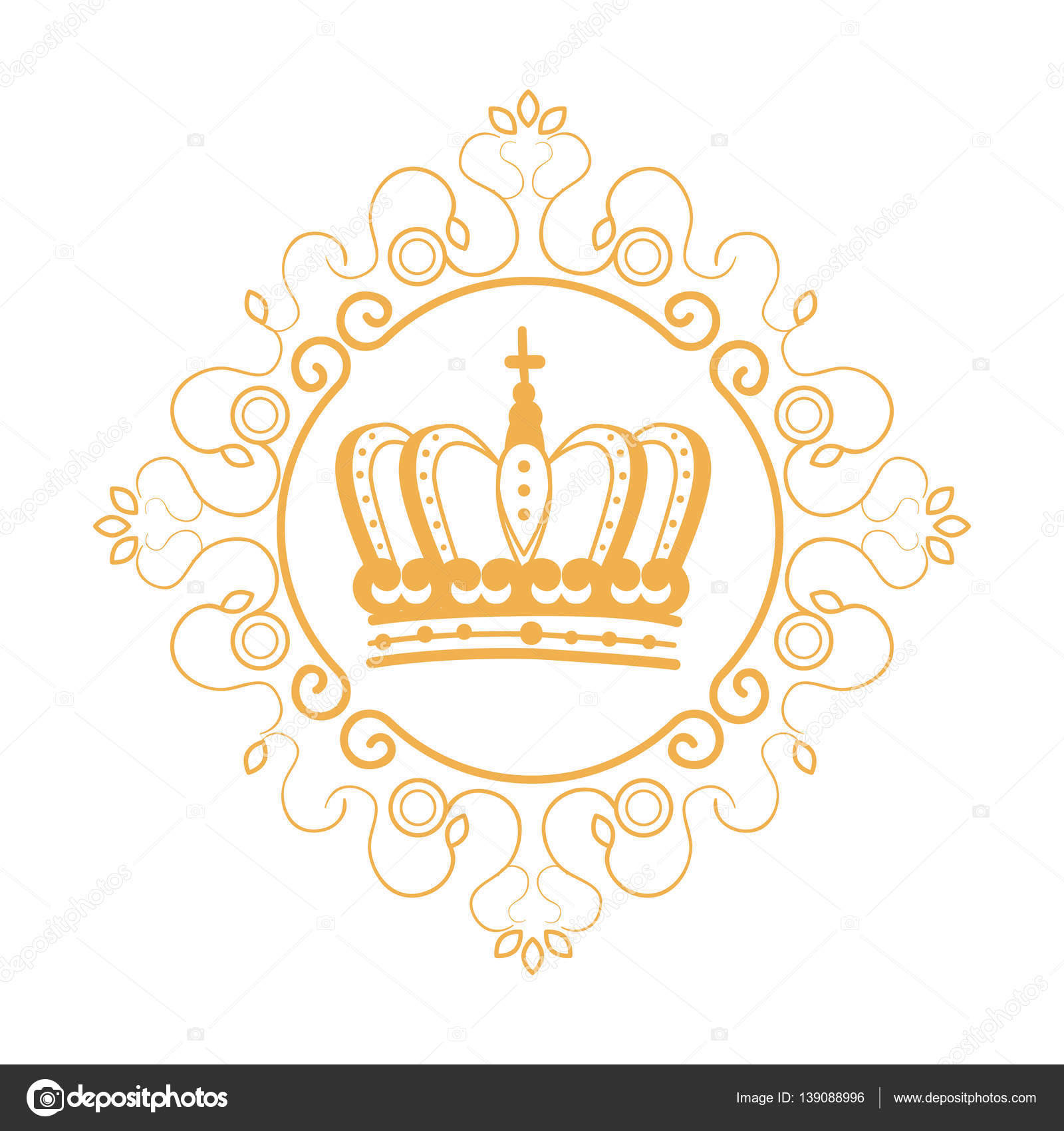 elegant frame with crown stock vector 139088996