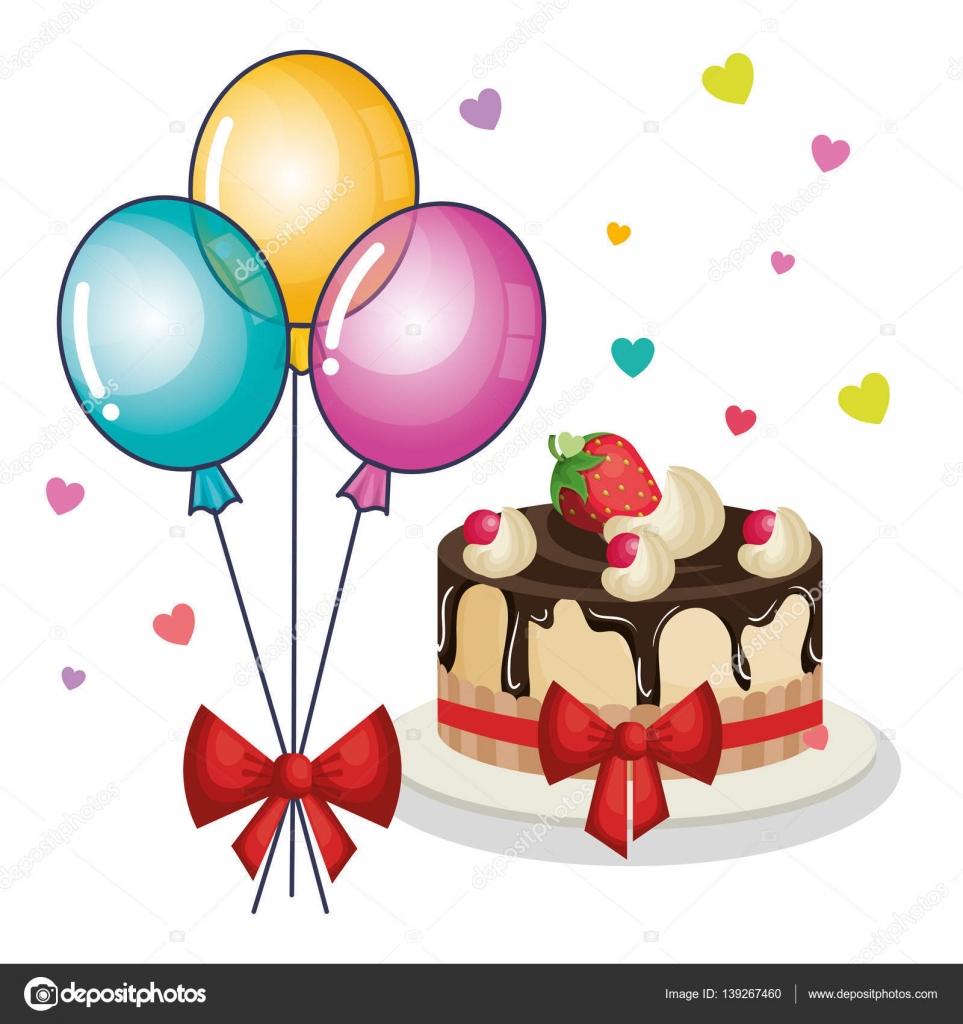 gute zum geburtstag-einladung mit luftballons luft und süße kuchen, Einladungen