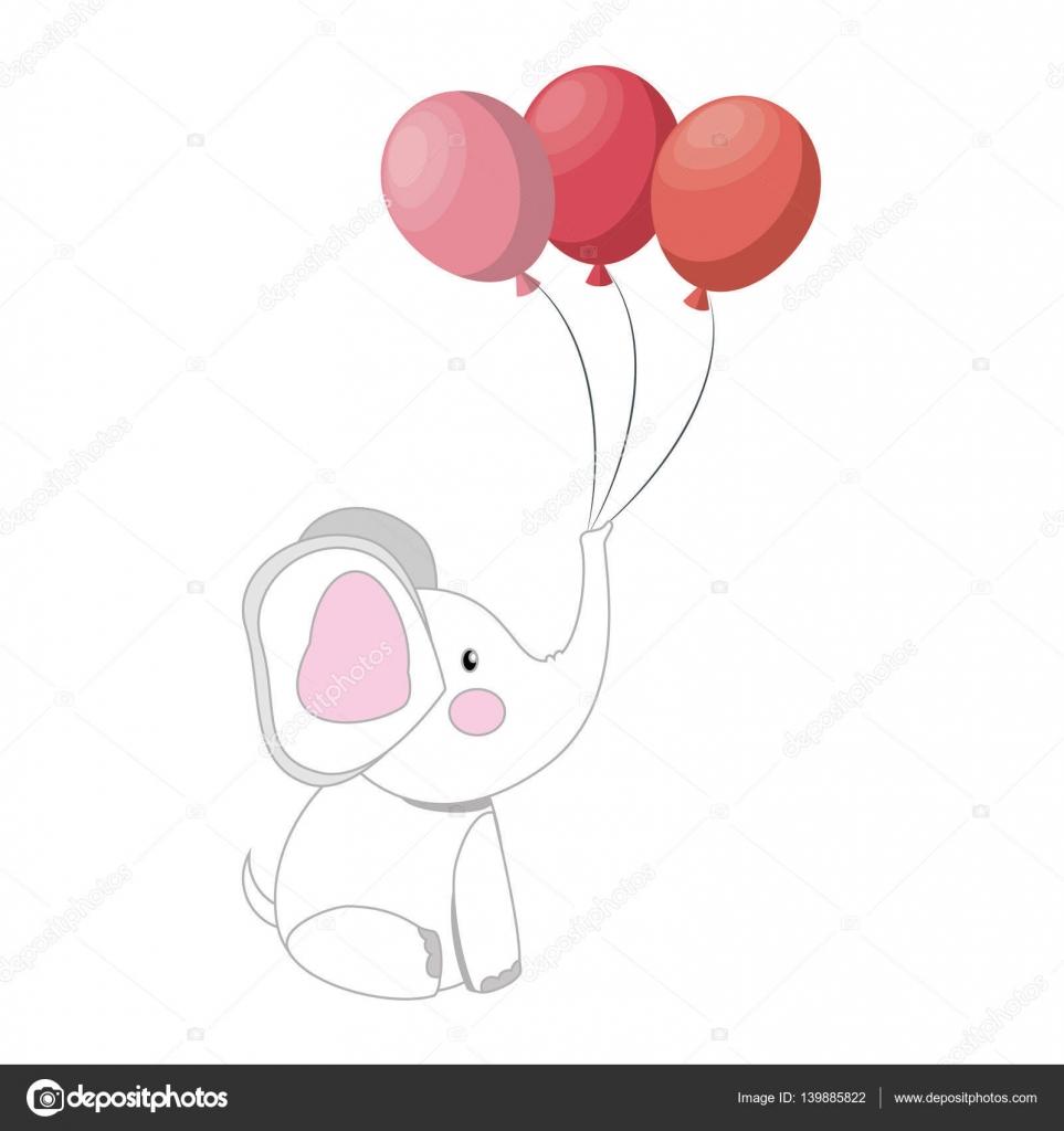 elefante bebê com balões festa — vetores de stock