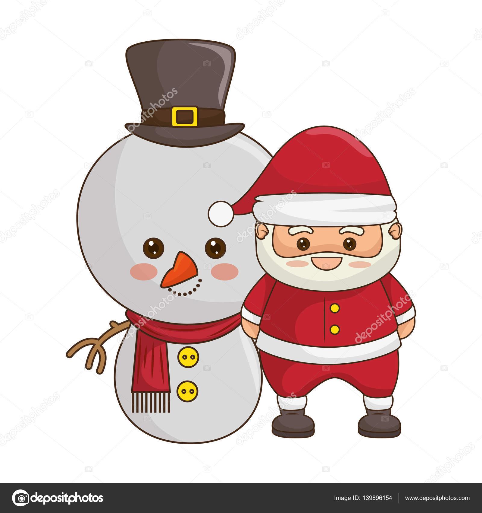 Joyeux Noël Père Noël Kawaii Caractère Image Vectorielle