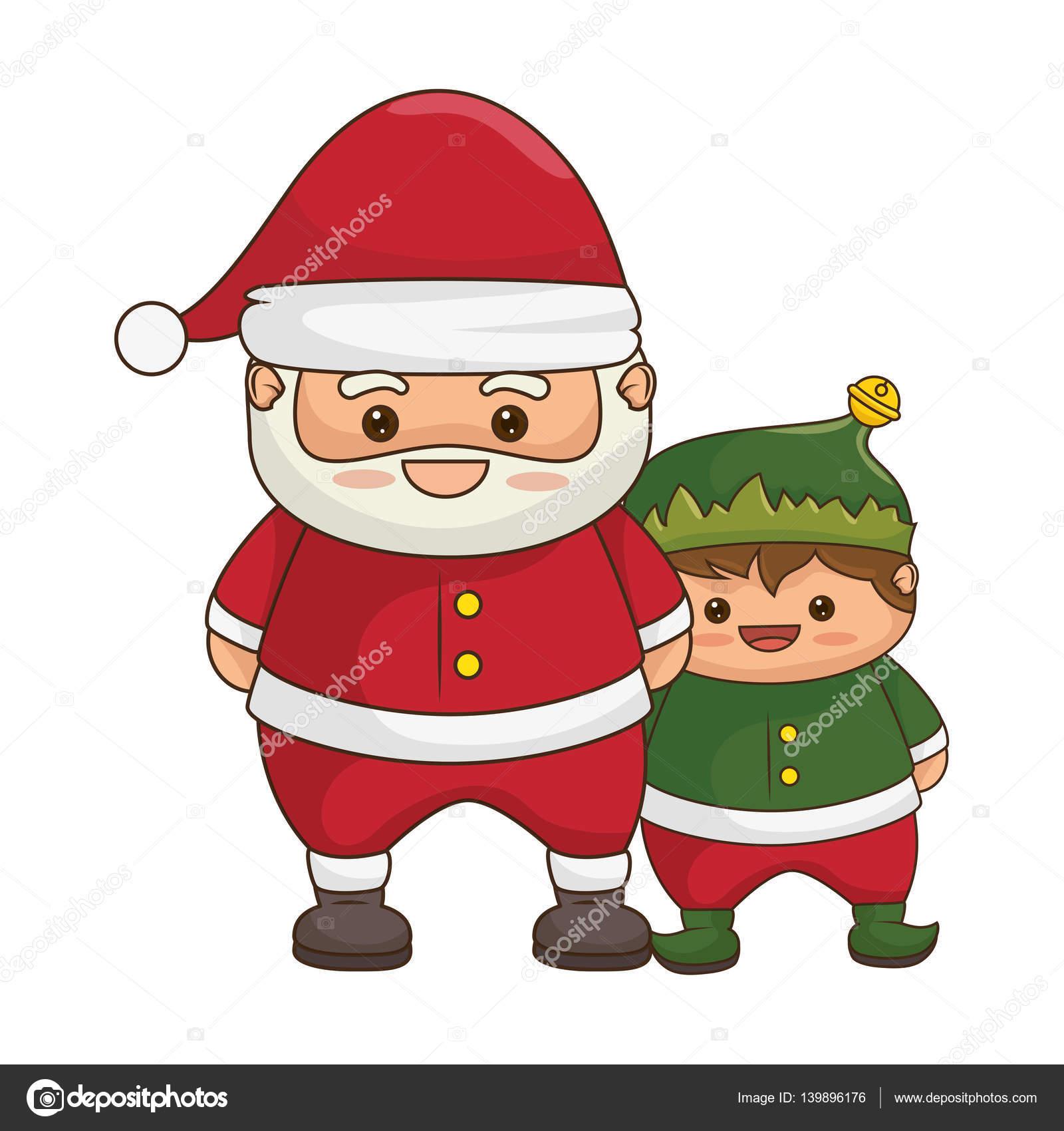 Joyeux Noël Père Noël Kawaii Caractère Image Vectorielle Yupiramos