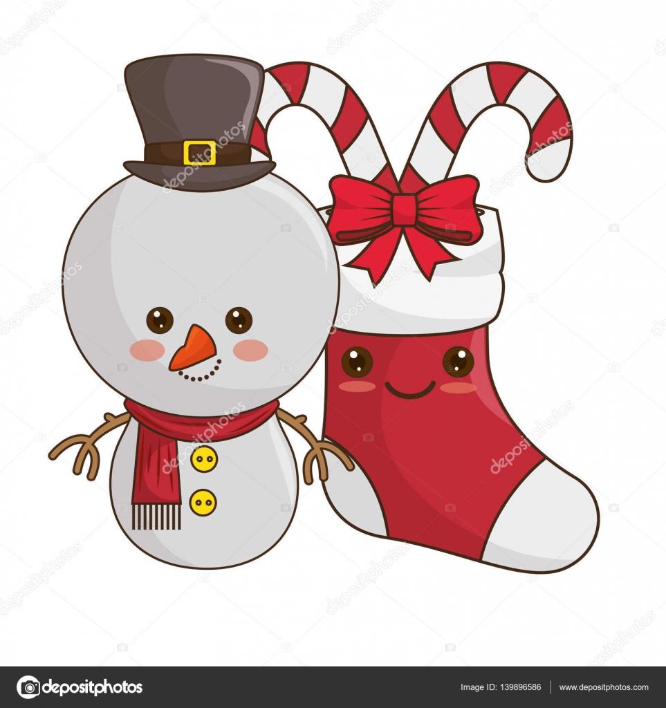 glücklich Frohe Weihnachten Schneemann Kawaii-Stil — Stockvektor ...