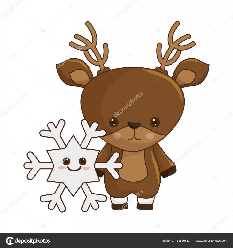 Caractère De Kawaii Heureux Du Joyeux Noël Renne Image Vectorielle