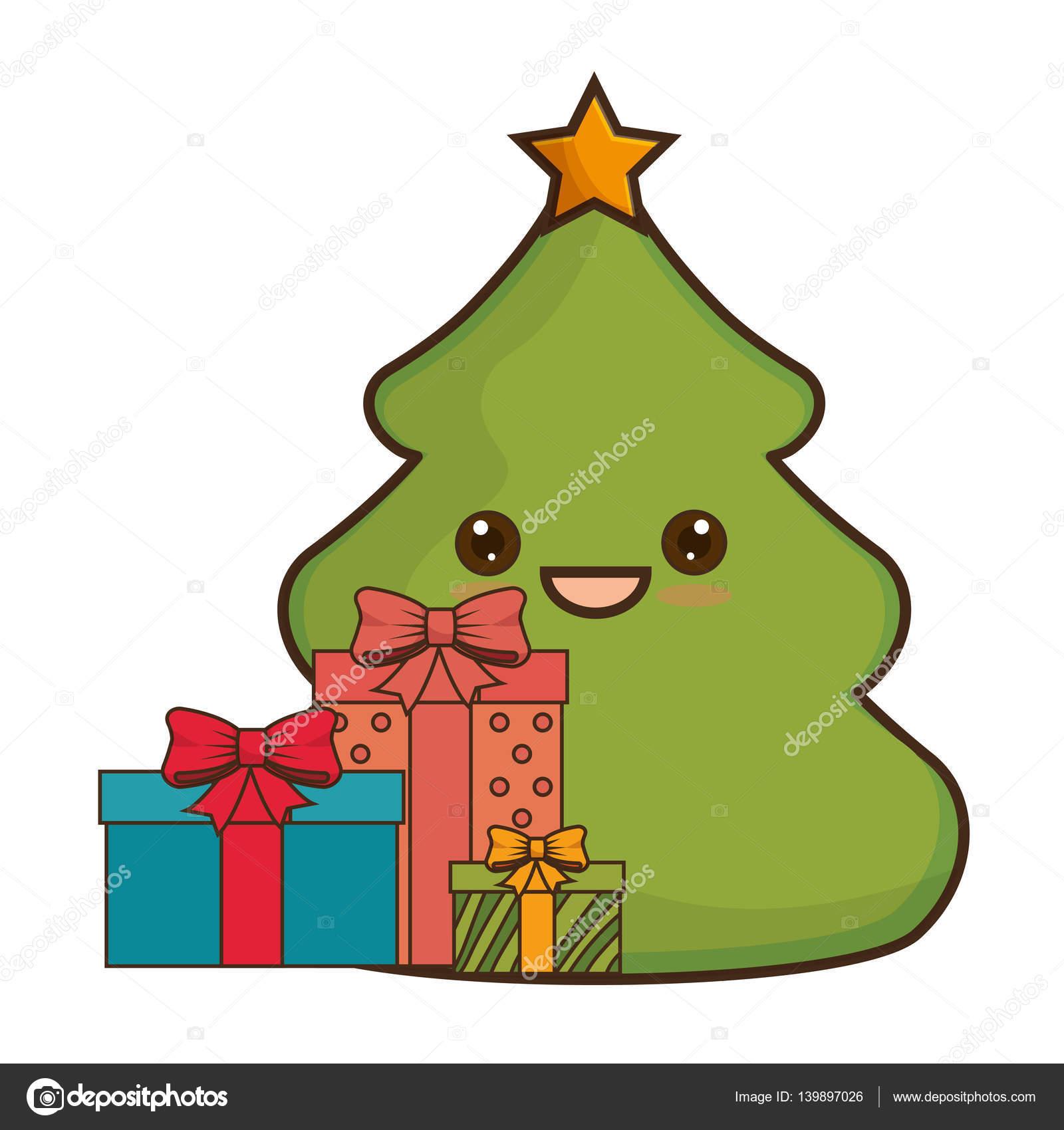 Immagini Natalizie Kawaii.Albero Di Natale Allegro Stile Kawaii Vettoriali Stock C Yupiramos