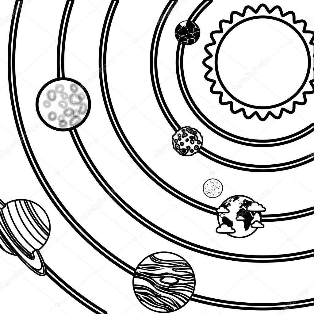 solar system clip art black and white