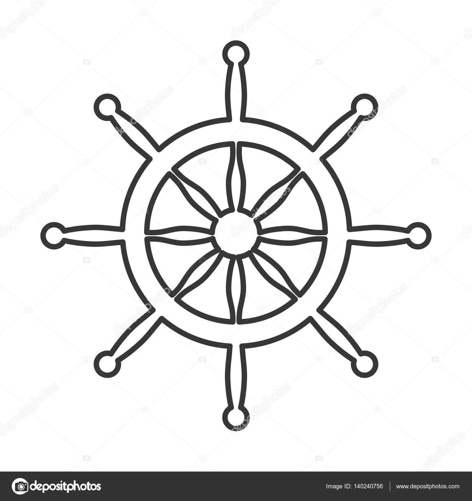 Vector Timones De Barco Icono Aislado De Barco De Timon Vector