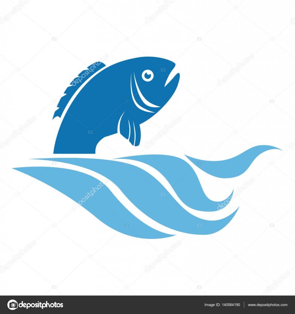 Cone de emblema de peixe de mar vetor de stock for The fresh fish company