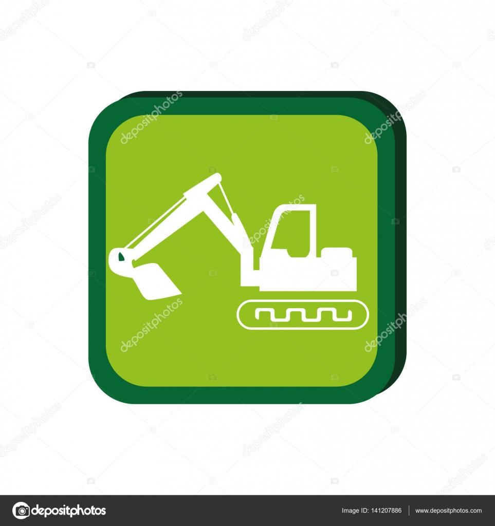 grüner Rahmen mit Bagger mit Schaufel — Stockvektor © yupiramos ...