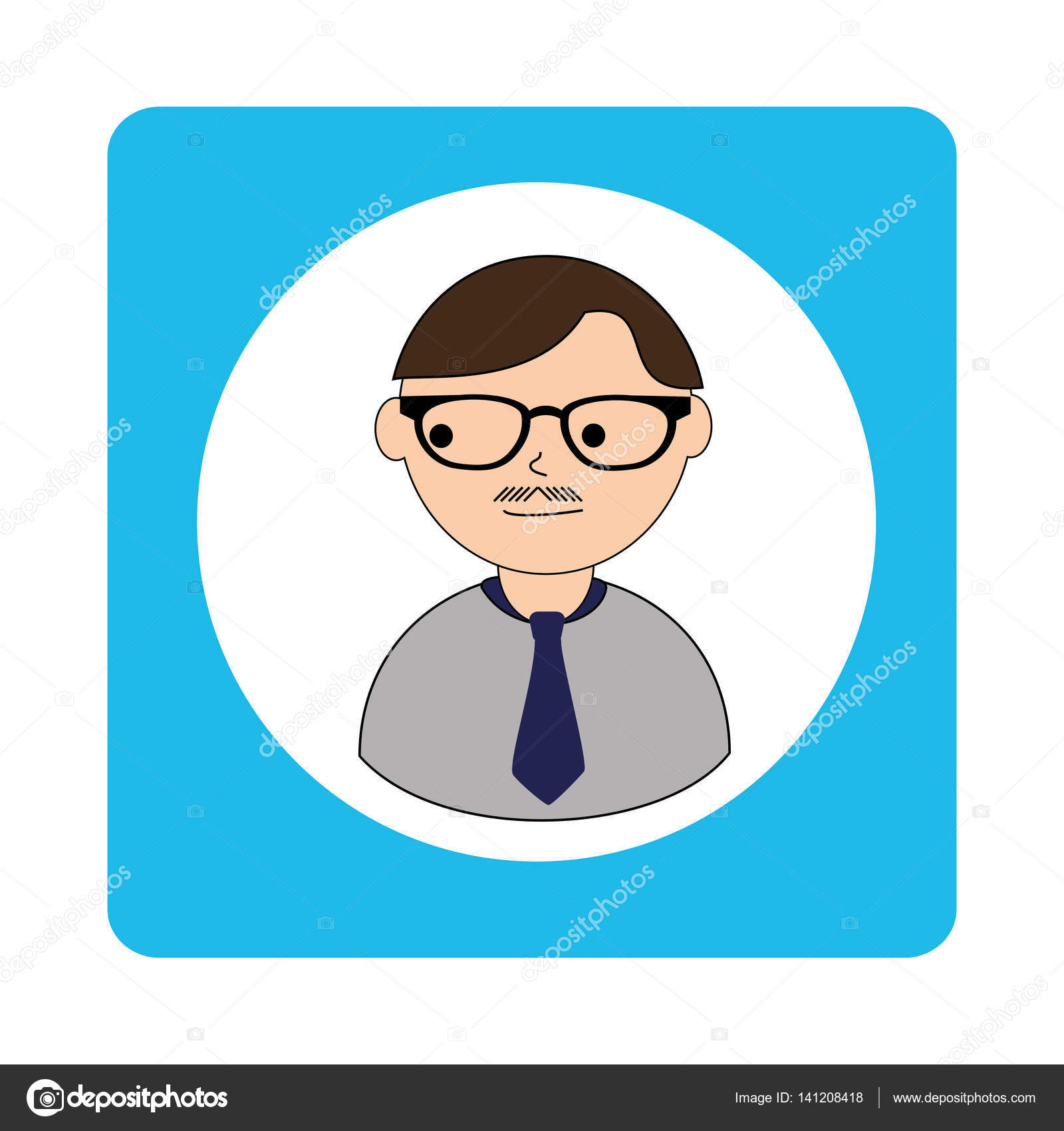 kaukasischen Mann Gesicht mit Brille und Schnurrbart und Krawatte in ...