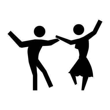 black silhouette pictogram people dancing