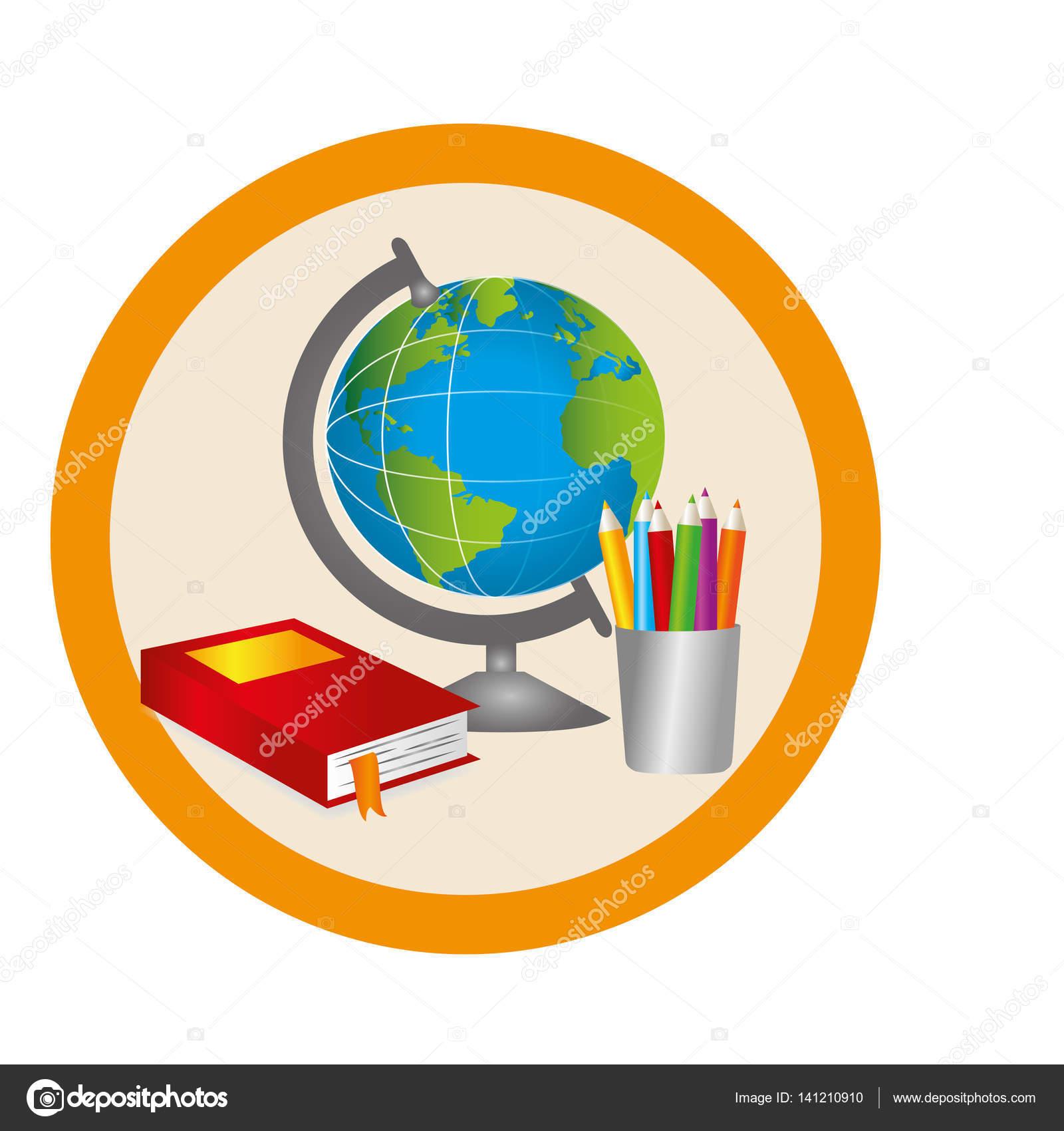 color de silueta con mapa mundo, libros y lápices en marco circular ...