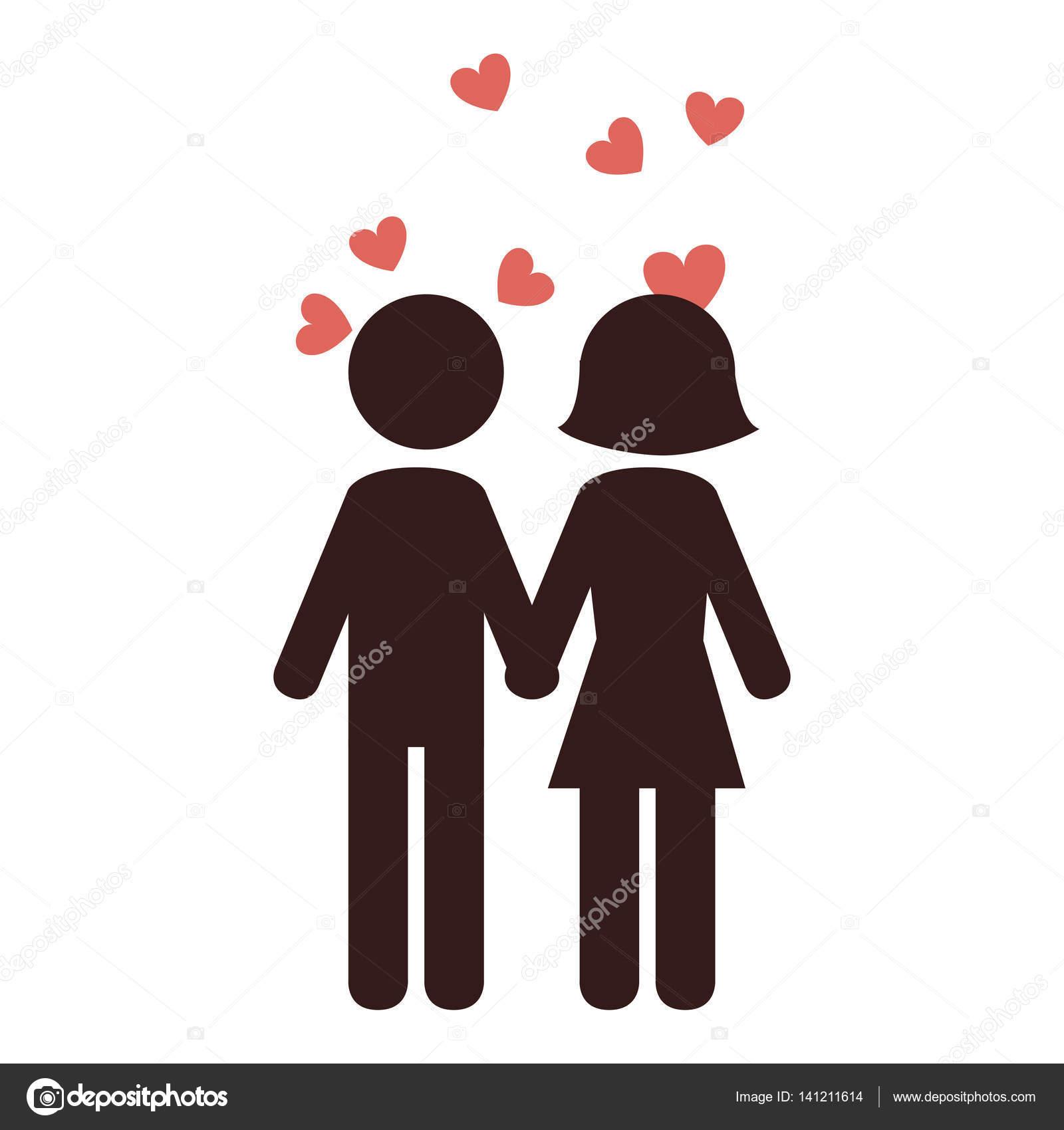 素敵なカップル シルエット アイコン — ストックベクター © yupiramos