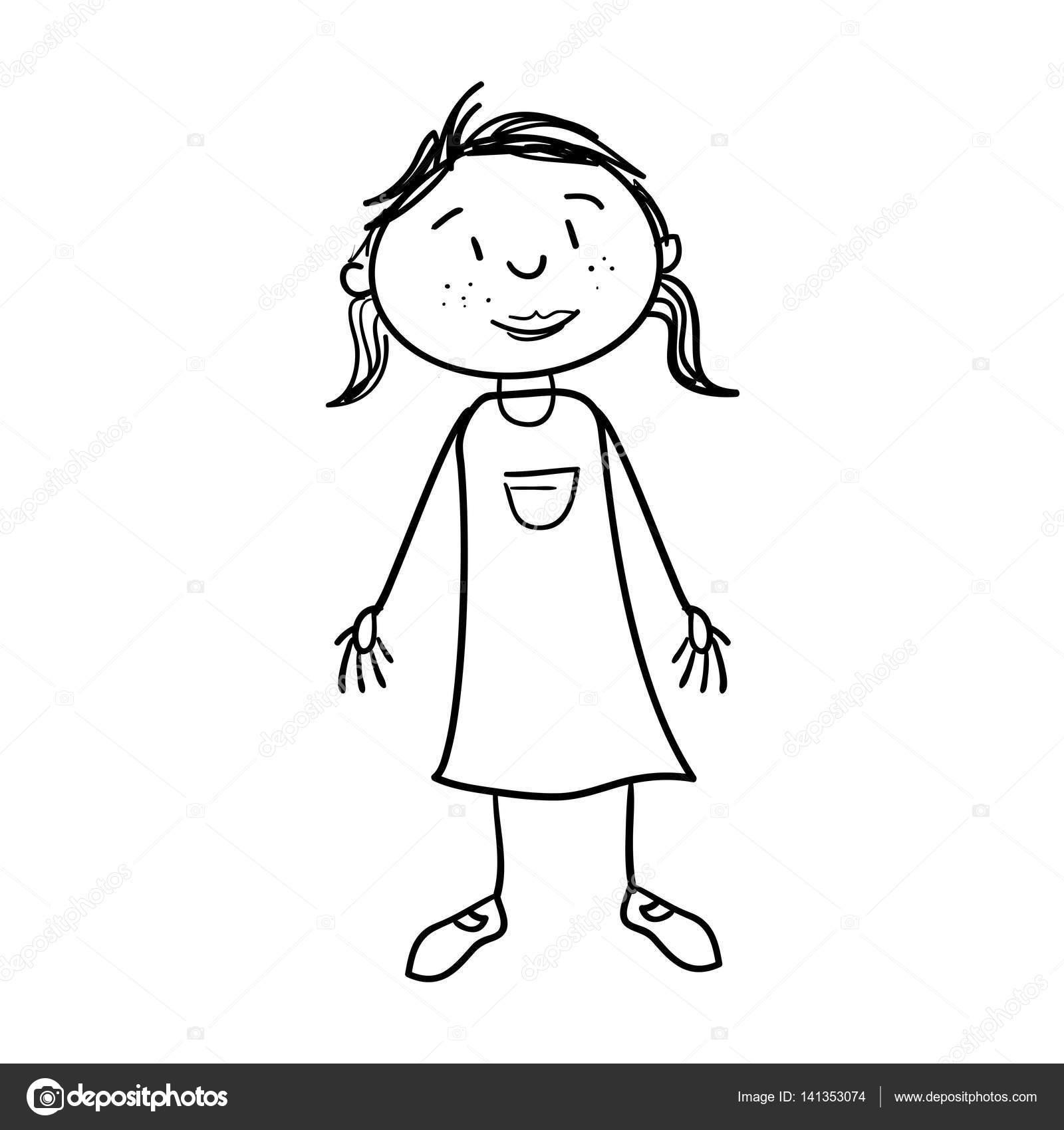 schattig meisje tekening pictogram stockvector