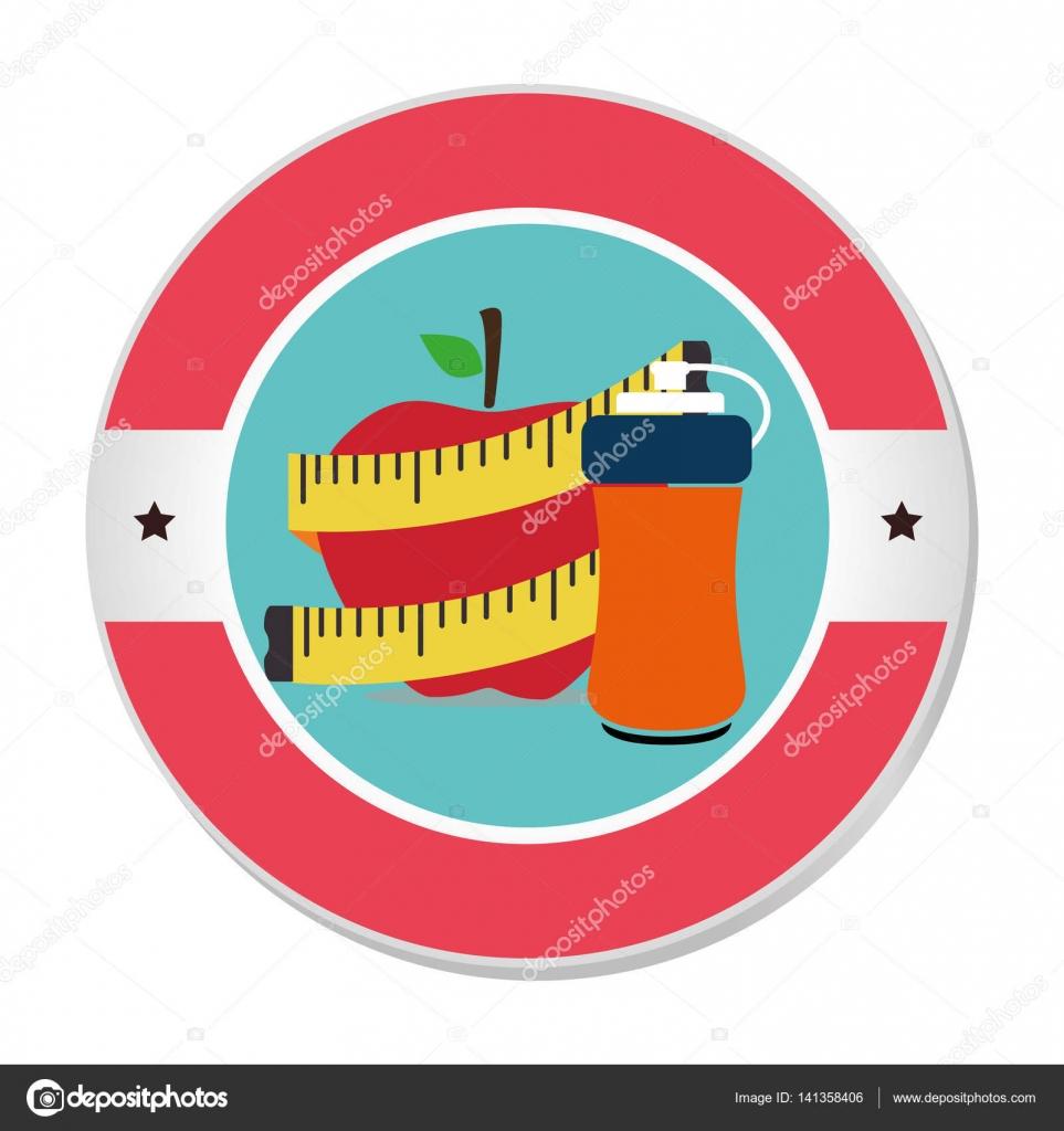 marco circular colorido con apple y medición de cinta y botella ...