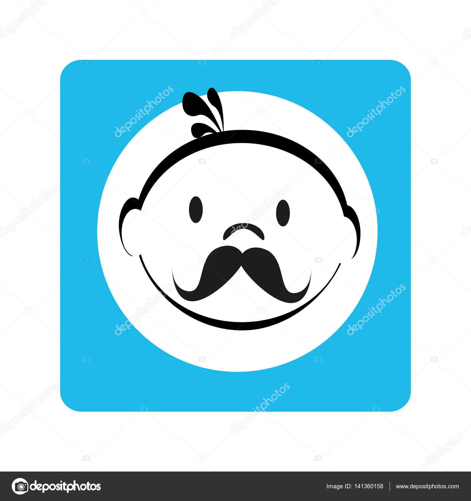 Kontur Mann Gesicht mit Schnurrbart in blauen quadratischen Rahmen ...