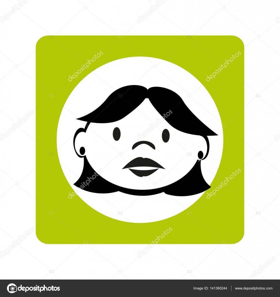 Gesicht Kontur Frau mit kurzen Haaren im grünen quadratischen Rahmen ...