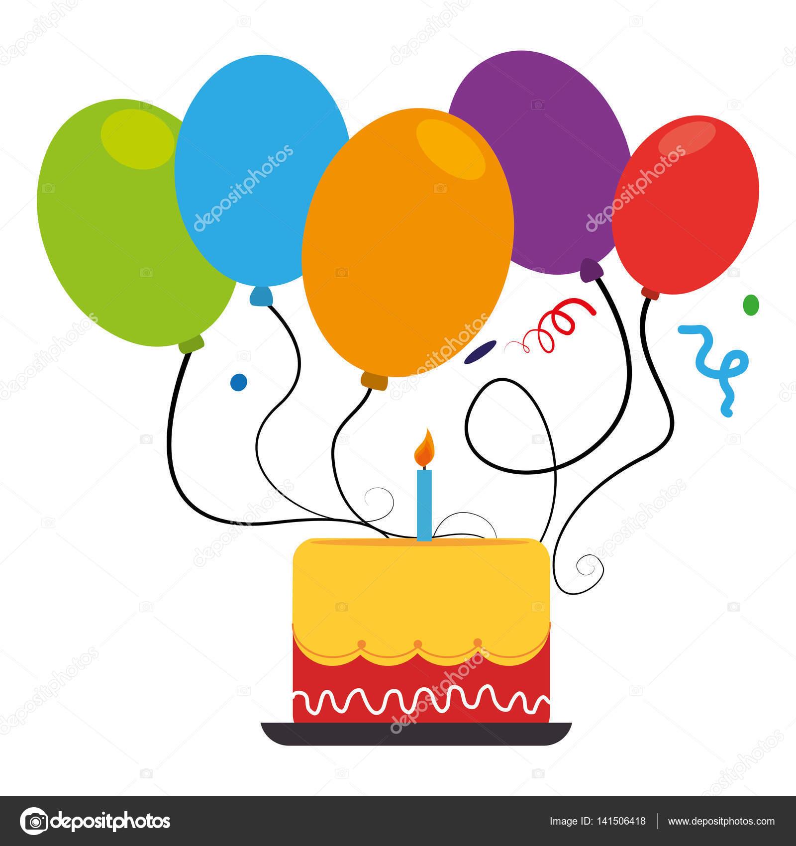 Kleurrijke Taart En Ballonnen Feest Verjaardag Stockvector
