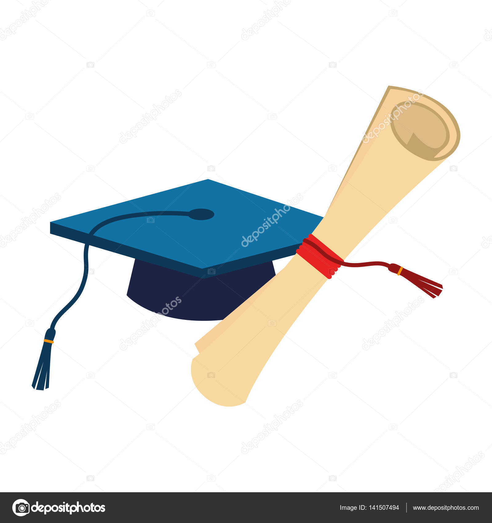 Certificate of graduation with graduation cap stock vector certificate of graduation with graduation cap vector illustration vector by yupiramos xflitez Images