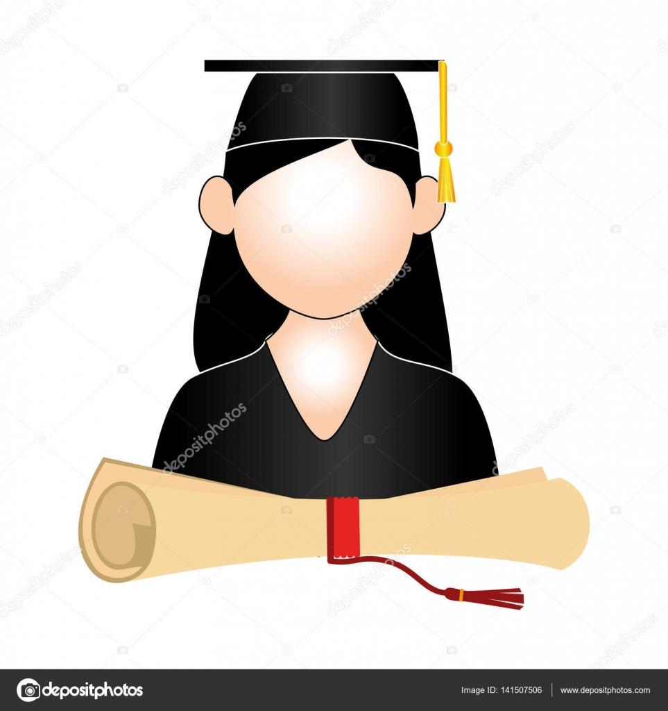 969ab321e Medio cuerpo mujer traje graduado y certificado de graduación vector  ilustración — Vector de ...