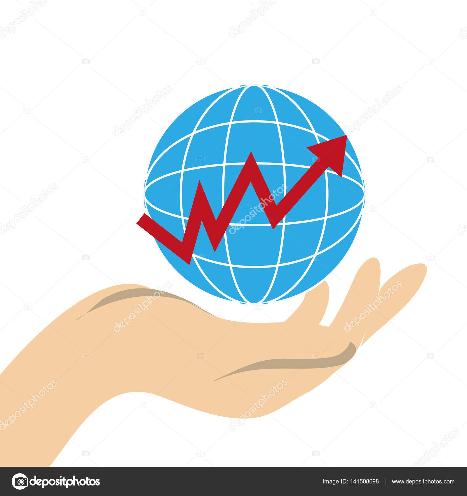 Hand holding a map world with line with rising arrow stock vector hand holding a map world with line with rising arrow vector illustration vector by yupiramos gumiabroncs Image collections