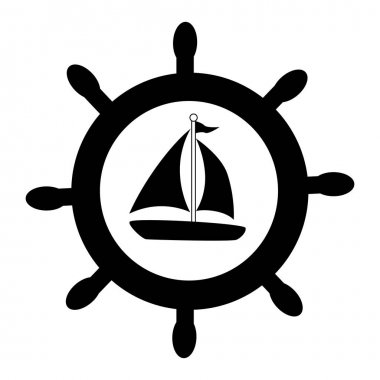 silhouette boat rudder with yacht