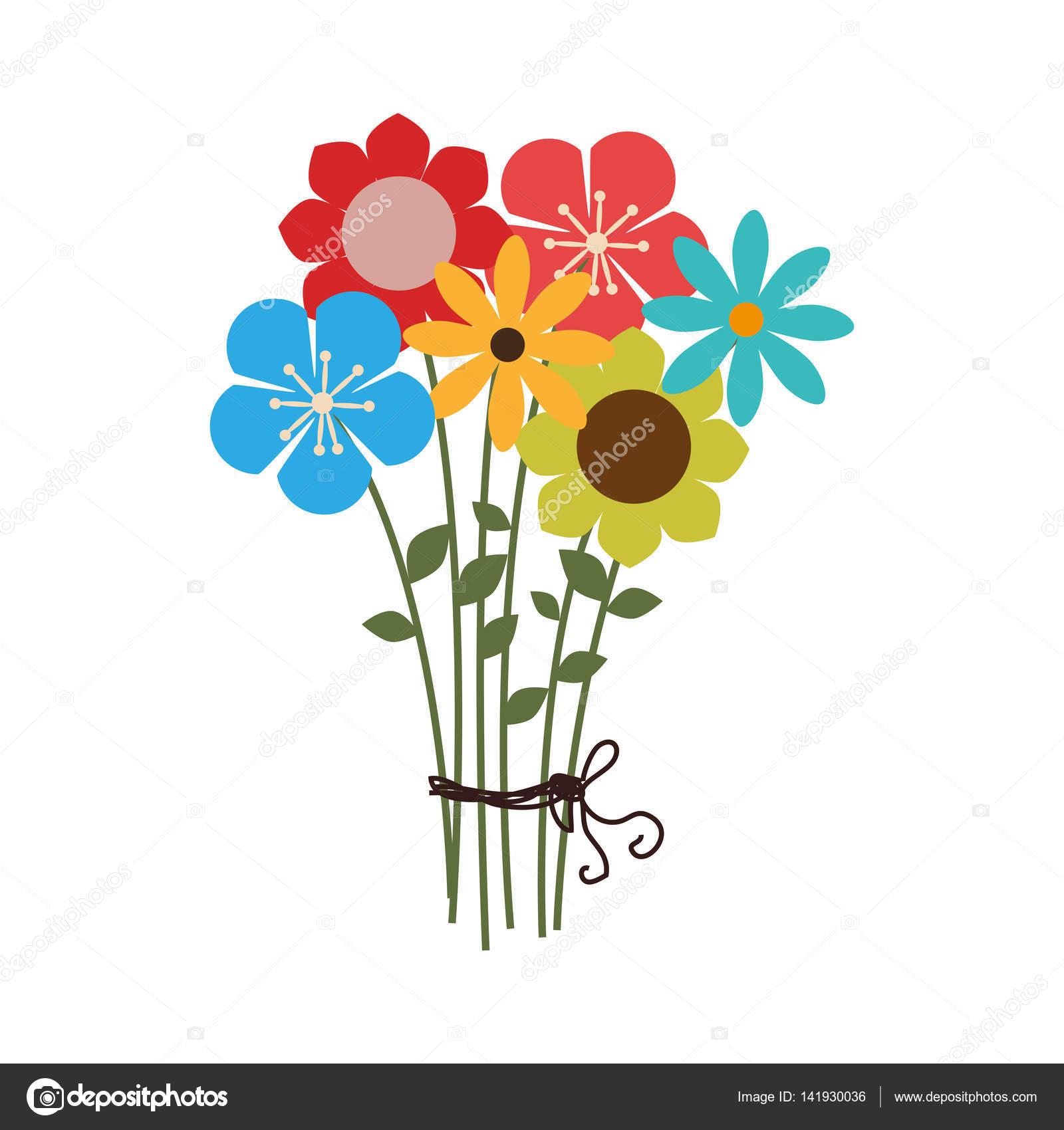 Colorful bouquet of several types of flowers stock vector colorful bouquet of several types of flowers vector illustration vector by yupiramos izmirmasajfo