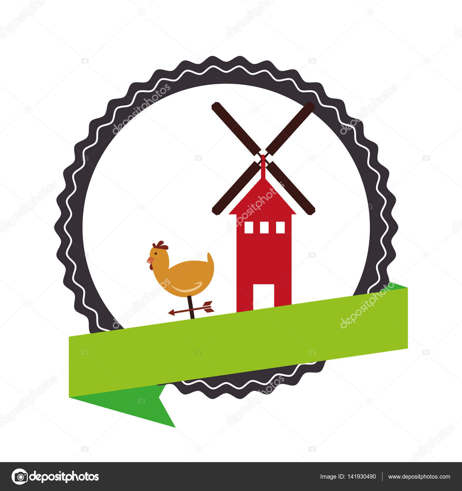 Stamp Border With Colorful Silhouette Windmill And Hen Label Stock Vector
