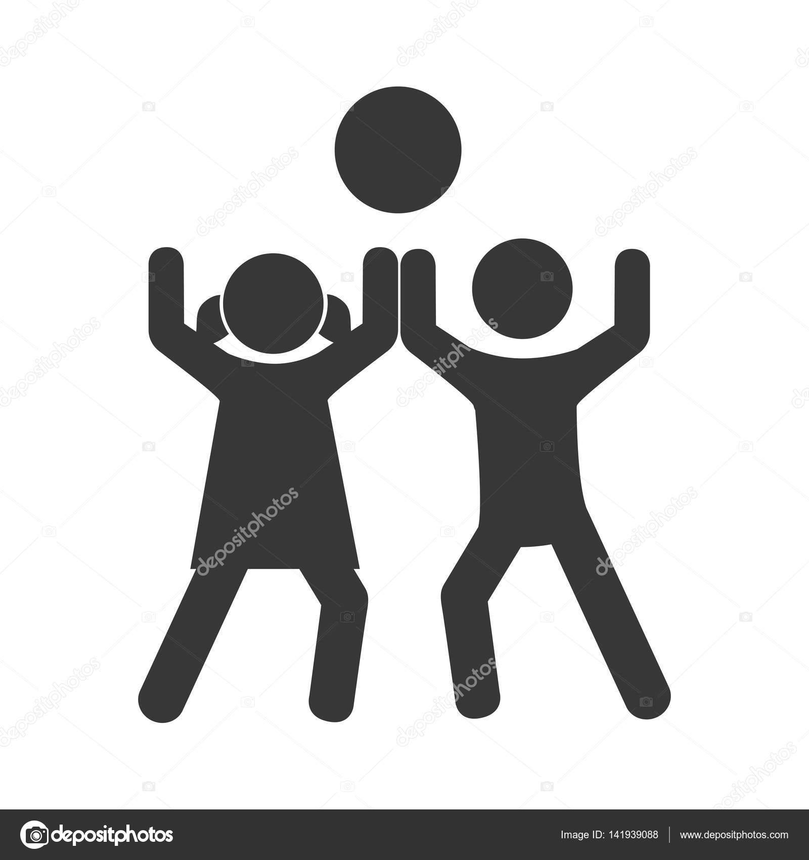 Monochrome Piktogramm mit Kinder spielen mit einem ball