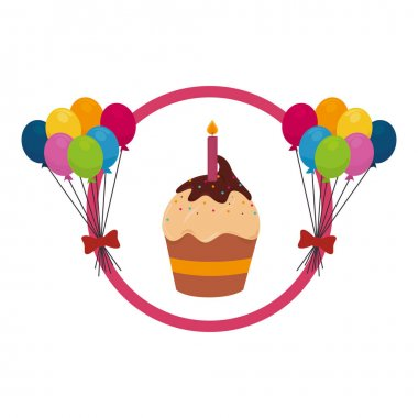color background with cupcake and balloons and candle