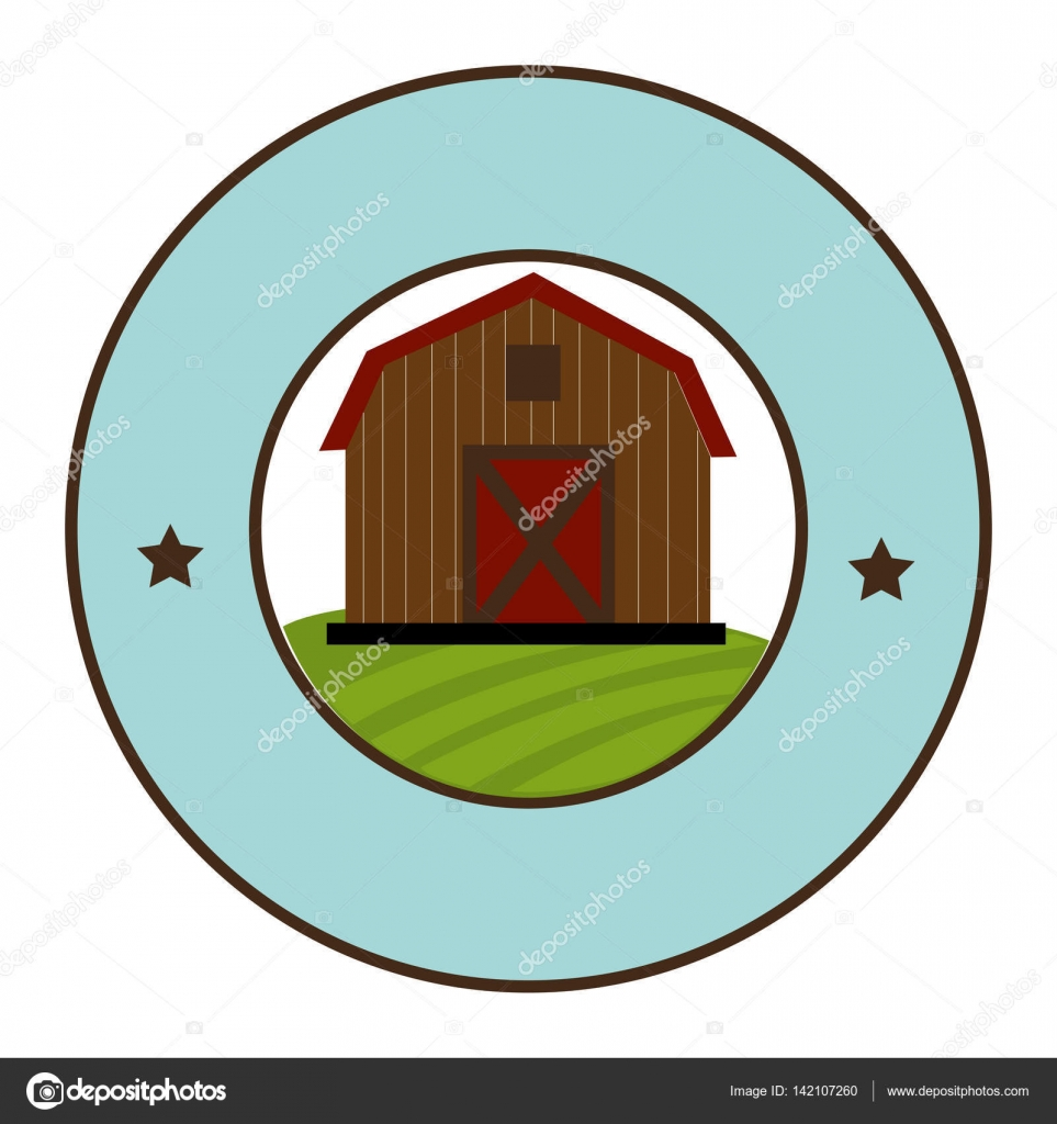 marco circular con galpon de dos pisos — Vector de stock © yupiramos ...