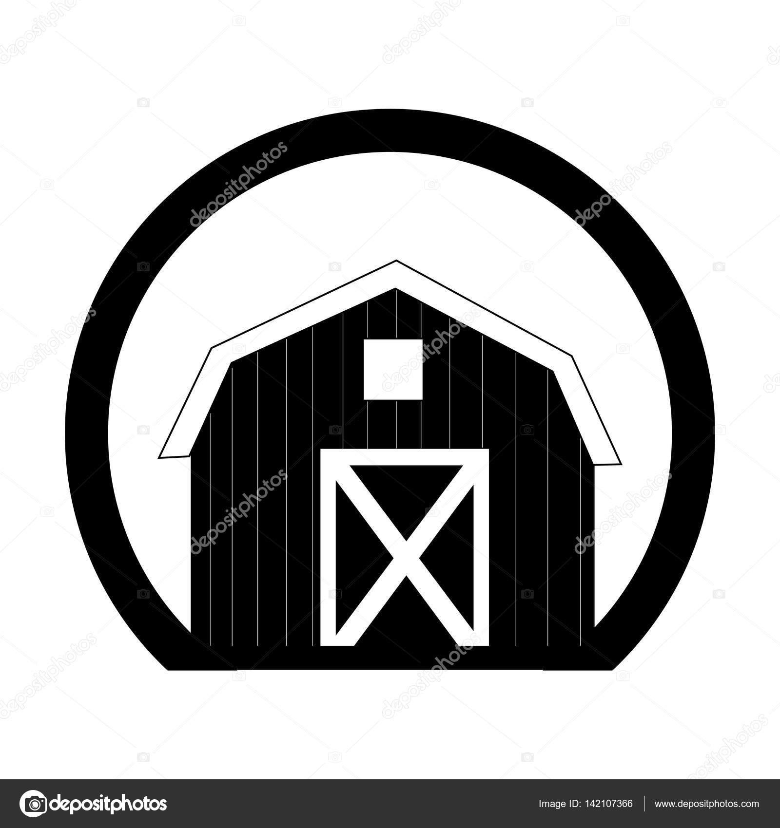 marco circular monocromo con galpon de dos pisos — Vector de stock ...