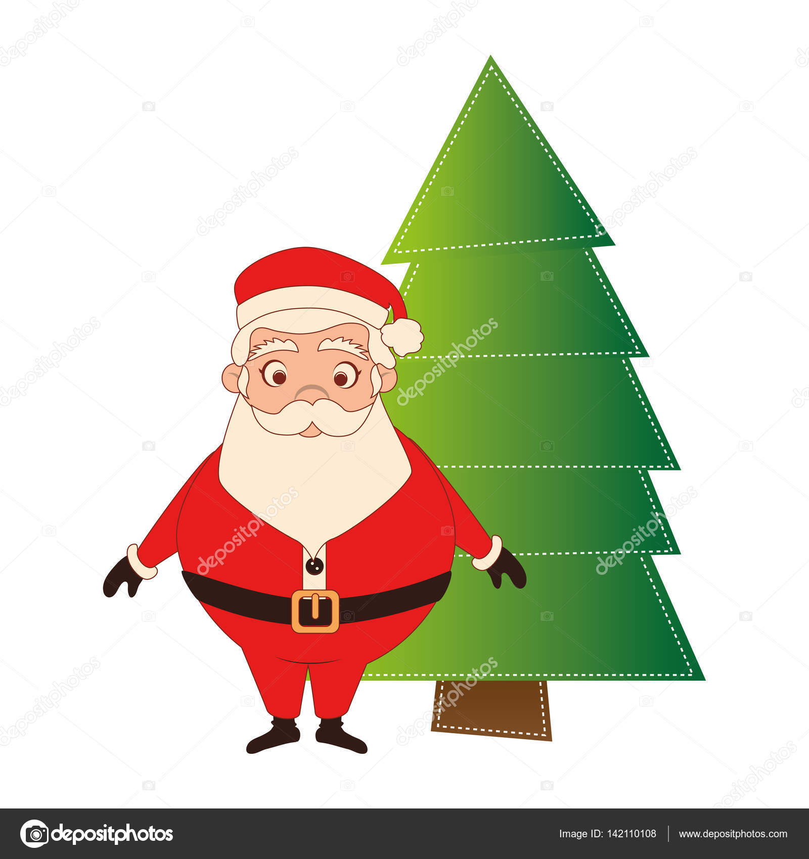 color silhouette with santa claus and christmas tree — Stock Vector ...