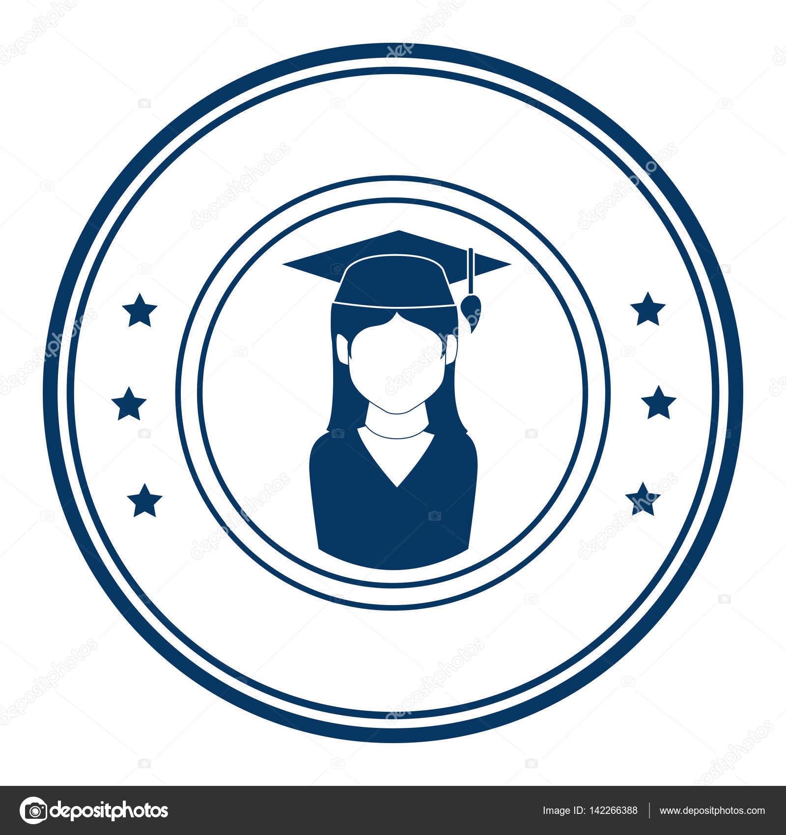 113c24f1f Emblema circular con mujer con traje de graduación — Archivo Imágenes  Vectoriales