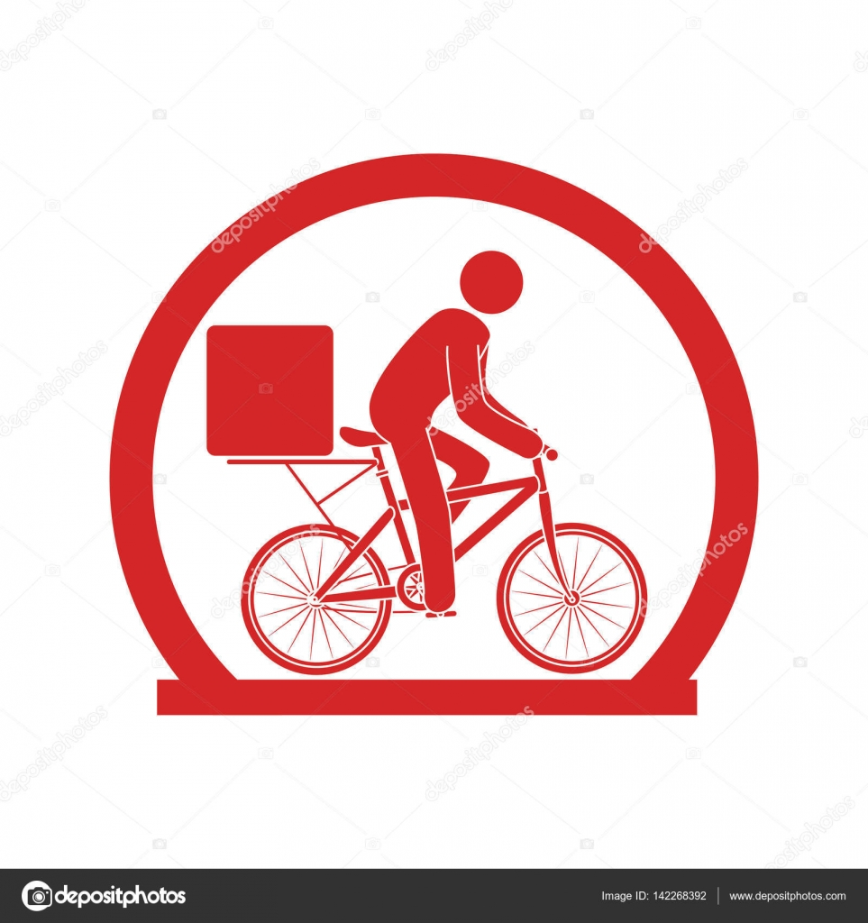 Circular Emblem With Delivery Man In Bike Stock Vector
