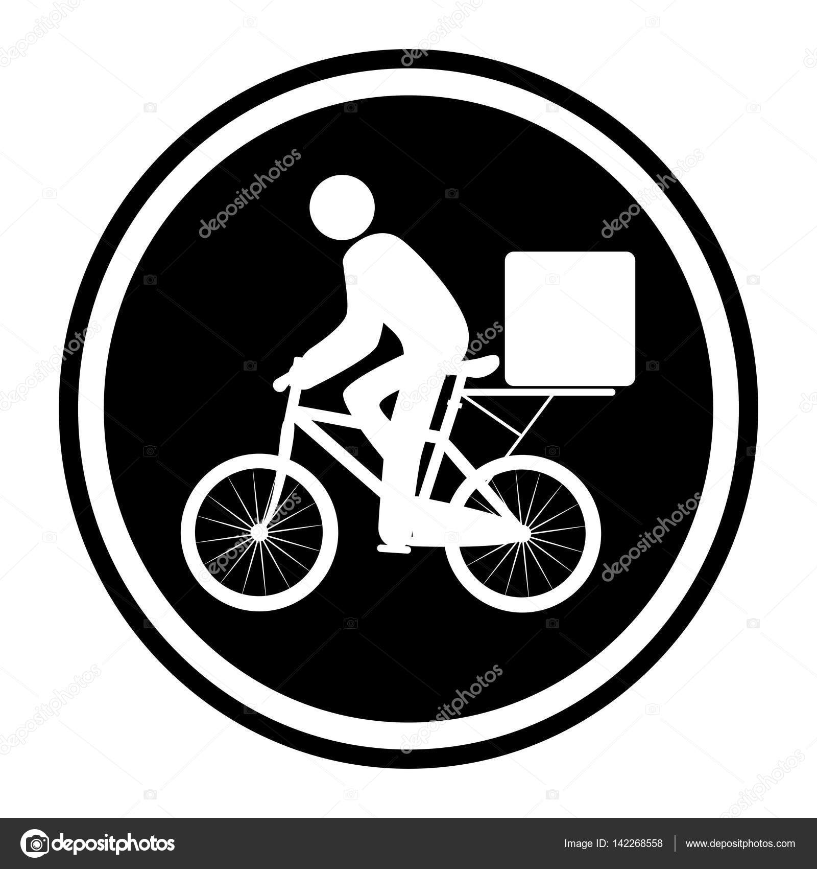 Monochrome Circular Emblem With Delivery Man In Bike Stock